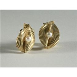 TIFFANY: Pair of Tiffany & Co. gold and pearl earrings