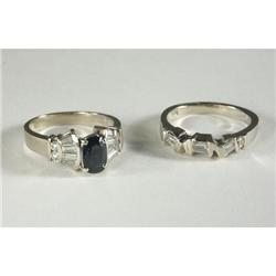14K White Gold Apphire Ring Set