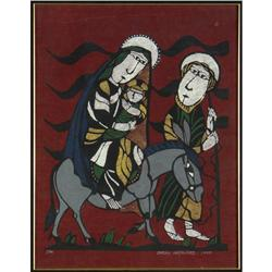 WATERCOLOR SADAO WATANABE FLIGHT INTO EGYPT