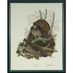 LITHOGRAPH RICHARD SLOAN RUFFED GROUSE SIGNED