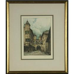 ETCHING JOSEF EIDENBERGER SCHLOSS EPPAN SIGNED