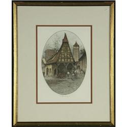 ETCHING JOSEF EIDENBERGER GERMANY SIGNED