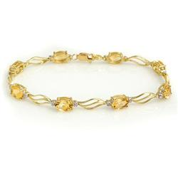 ACA CERTIFIED 6.02ctw DIAMOND & CITRINE TENNIS BRACELET