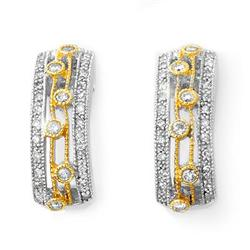 ACA CERTIFIED 0.66ctw DIAMOND EARRINGS IN TWO-TONE GOLD