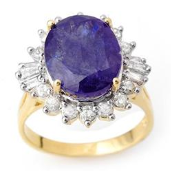 FINE 8.03ctw ACA CERTIFIED DIAMOND & TANZANITE RING 14K