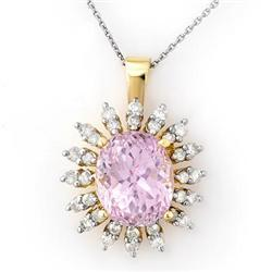 NECKLACE 8.68ctw ACA CERTIFIED DIAMOND & KUNZITE GOLD
