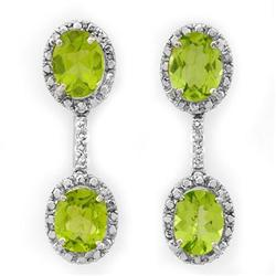 ACA CERTIFIED 8.10ctw DIAMOND & PERIDOT EARRINGS GOLD