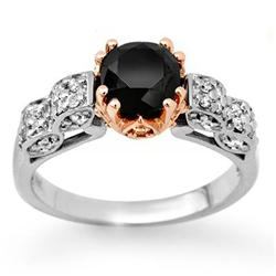 CERTIFIED 1.78ctw WHITE & BLACK DIAMOND RING 14KT GOLD