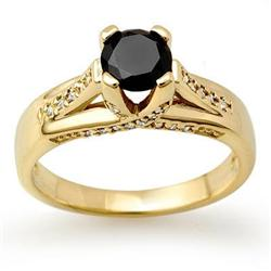 CERTIFIED 1.18ctw WHITE & BLACK DIAMOND RING 14KT GOLD