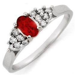 FINE 0.50ctw ACA Certified DIAMOND & RED SAPPHIRE RING