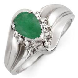 CERTIFIED 0.62ctw DIAMOND & EMERALD RING WHITE GOLD