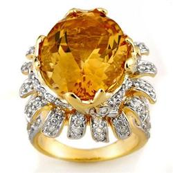 FINE 15.75ctw ACA CERTIFIED DIAMOND &amp; CITRINE RING 14KT