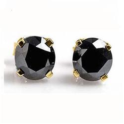 OVERSTOCK 1/2 ctw BLACK DIAMOND STUD EARRINGS 14KT GOLD