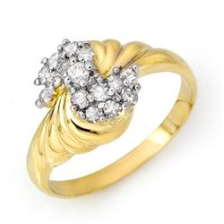 ACA CERTIFIED 0.25ctw DIAMOND CLUSTER RING YELLOW GOLD
