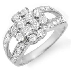 ACA CERTIFIED 2.0ctw DIAMOND LADIES RING 14K WHITE GOLD