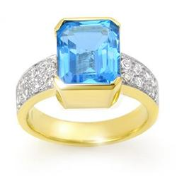 OVERSTOCK 7.26 ctw CERTIFIED BLUE TOPAZ & DIAMOND RING