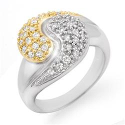 CERTIFIED 0.60ctw DIAMOND LADIES RING TWO-TONE GOLD