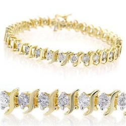 CERTIFIED 8.0ct DIAMOND TENNIS BRACELET 14K YELLOW GOLD