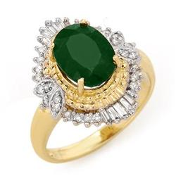 ACA CERTIFIED 2.58ctw EMERALD & DIAMOND RING 14KT GOLD