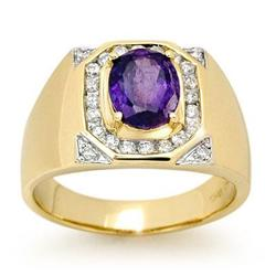 CERTIFIED 3.1ct DIAMOND & TANZANITE MEN'S RING 14K GOLD