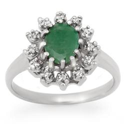 CERTIFIED 1.46 ctw EMERALD &amp; DIAMOND RING  WHITE GOLD