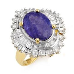 ACA CERTIFIED 6.0ctw TANZANITE & DIAMOND RING 14KT GOLD