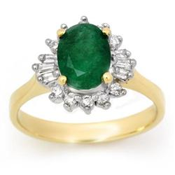 CERTIFIED 1.18ctw DIAMOND &amp; EMERALD RING YELLOW GOLD