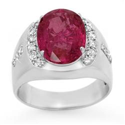 CERTIFIED 7.33ct PINK SAPPHIRE DIAMOND MEN'S RING GOLD