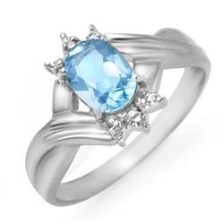 CERTIFIED 1.04 ctw BLUE TOPAZ & DIAMOND RING WHITE GOLD