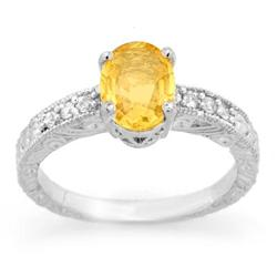 CERTIFIED 2.28ct DIAMOND & YELLOW SAPPHIRE RING 14KGOLD