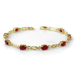 CERTIFIED 5.48ctw RUBY & DIAMOND BRACELET YELLOW GOLD