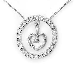 ACA CERTIFIED 0.50ctw DIAMOND HEART NECKLACE WHITE GOLD