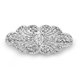 VICTORIAN CERTIFIED 1.0ct DIAMOND BROOCH 14K WHITE GOLD