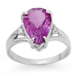 CERTIFIED 2.55ctw AMETHYST & DIAMOND RING WHITE GOLD