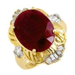 CERTIFIED 7.84 ctw RUBY & DIAMOND RING 14KT YELLOW GOLD