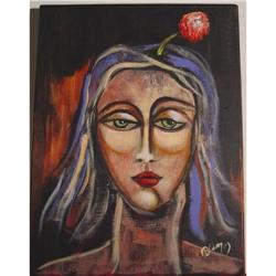Original Painting Art Flower Lady Portrait Sign#1948200