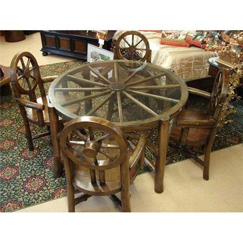 Primitive Rustic Wagon Wheel Dining Table Chair 1988553