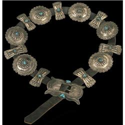 Concho Belt, Sterling and Turquoise