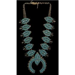 263a: Zuni Squash Blossom Necklace, 1940-1950s