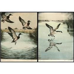275: Hans Kleiber, 2 Hand Colored Etchings