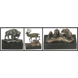 296: Charles M. Russell, 3 Trigg Silver Bronzes