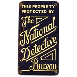 The National Detective Bureau Tin Sign