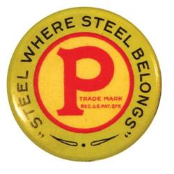 Peters Steel Celluloid Pin Back