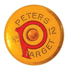 Peters number 12 Target Celluloid Pin Back