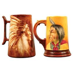 Two Western Americana Ceramic Mugs