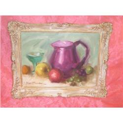 Vintage Leon Franks Fruits Goblet Jug Painting #2032543