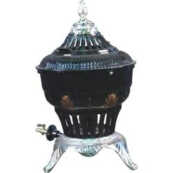 "Restored Very Ornate Round Gas Heater  Black  21"" tall"