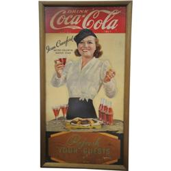 1933 Coca-Cola Cardboard Sign Featuring Joan Crawford