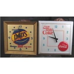 Lot of 2 Adv Clocks:  Early Coca-Cola & Dad's Root Beer
