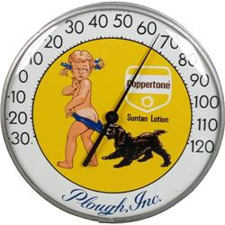 "Coppertone 12"" round Thermometer shows Dog"